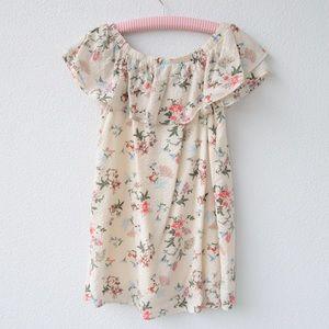 Cream/floral off the shoulder dress